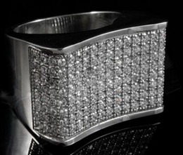 Wholesale Ip Set - 18K IP White Gold Stainless Steel Simulated Diamond Band Micropave Mens Ring