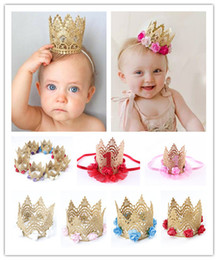 Wholesale Kids Princess Crown Hair Tiara Clips - 1pcs Cute Newborn Baby Kids Girls Lace Crown Princess Headdress Clip Headdress Birthday Christmas Hair Accessories
