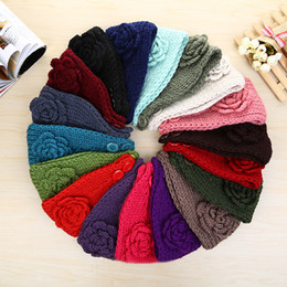Wholesale Mexican Headbands Flower - 2017 Women Fashion Wool Crochet Headbands 24 colors Knit Hair bands Flower Bands Winter Ear Warmer Wool hair bands dhl free shipping