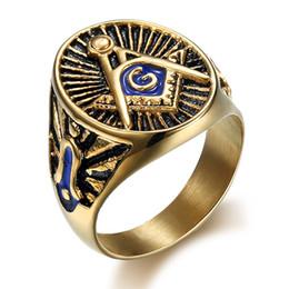 Wholesale Mason Rings Men - Free Shipping wholesale Gold Silver Blue Enamel Retro Black Effect Stainless Steel Mason Freemason Signet Masonic Ring for men