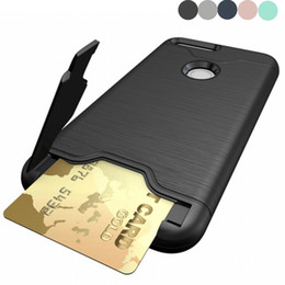 Wholesale Google Mobile Wallet - Hybrid Hard plastic Armor Case Cover For google pixel Wire drawing With Stand Card Holder Mobile Phone Accessories case