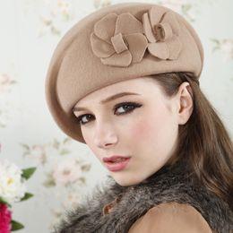 Wholesale Elegant Men Hat - Wholesale-Autumn Winter Women Flower Beret Berets Ladies Girls Fashion Elegant Party Hats 2016 Solid Stylish Woolen Caps Black Red Khaki
