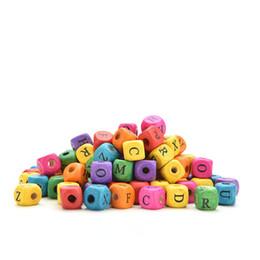 Wholesale Square Alphabet Beads - Wholesale- 100pcs set Kids DIY Mixed Letters Cube Colourful Alphabet Letters Wood Bead Square Loose Beads For Kids Learning Toys