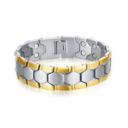 Wholesale Gold Silver Magnetic Clasps - Meaeguet Magnetic Health Bracelets &Bangles For Men Football Design Bracelet 21cm Healthy Energy Bracelets For Male BR-075