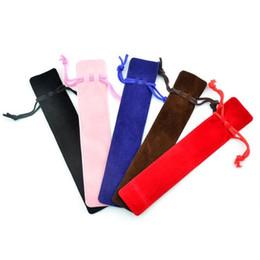 Wholesale Velvet Pencil Case - Wholesale-100pcs lot Velvet Pen Pouch Holder Single Gift Pencil Bag Pen Case With Rope Office & School Supplies WJ0384