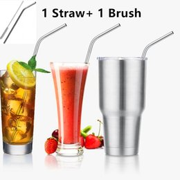 Wholesale 304 Yeti Stainless Steel Bend Drinking Straw With Cleaning Brush For Yeti oz oz Rambler Tumbler Cups Straw Brush Opp Package
