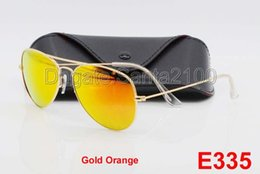 Wholesale Sun Glasses Mix - 1pcs High Quality Men Women Designer Pilot Sunglasses Sun Glasses Gold Flash Orange Mirror Glass Lenses 58mm 62mm UV Protection Box Cases