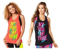 Wholesale Dancing Tops - Hot sell woman Tank racerback yoga vest My Vibe My Tribe Loose Tank dance tops black free shipping