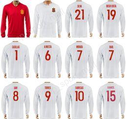 Wholesale Spain Long Sleeve - 2017 Spain LongSleeve Jersey 2018 Soccer 21 David Silva Football Shirt 6 Andres Iniesta 1 Iker Casillas 10 Cesc Fabregas 14 Xabi Alonso