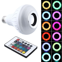 Wholesale Square Rgb Led - 2pcs E27 12W RGB Music Bulb LED Lamp Wireless Bluetooth Speaker 100-240V Color Changing Music Player Audio Speaker Light with Remote Control
