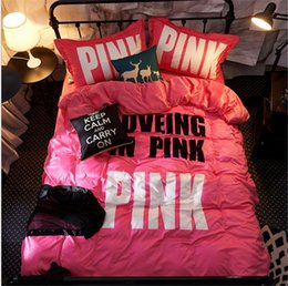 Wholesale Thick Winter Quilts - VS Love Pink Bedding 4 Sets Victoria's Flannel Quilt Cover Bed Sheet PillowCase Pink Letter Thick Bedding Article Winter Warm Bed Sets Hot