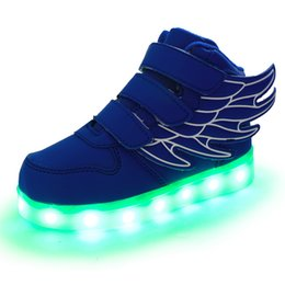 Wholesale Led Top For Girls - 2017 kids led shoes for kids high tops USB recharge colorful night light shoes for boys and girls multi colors wholesale free shipping