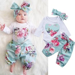 Wholesale Toddlers Romper Patterns - New INS Baby Girl Toddler Clothes 3piece set Girls Outfits Floral Romper Heart Pattern Onesies Bloomers + Flowers Bow Headband A7309