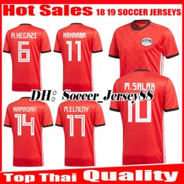 Wholesale National Team Soccer Uniforms - 2018 2019 Egypt soccer jersey M. SALAH world cup Home Red 18 19 KAHRABA A. HEGAZI RAMADAN national team uniforms jerseys footbal shirts