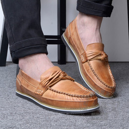 Wholesale Modern Mark - Modern Italian Summer Style Asakuchi Slip Western Solid Color Mark Thread Casual Shoes Men Full Grain Leather Men White Loafers
