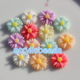 Wholesale Flat Back Resins Wholesale - 100pcs Charm 13MM Acrylic Resin Sunflower Cabochons Flat Back Beads Floral Plastic Beads Art Craft Setting no Hole