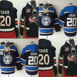 Wholesale Cheap Hoodie Jackets - Hot Sale Mens Columbus Blue Jackets 20 Brandon Saad Stitched Best Quality Cheap 100% Embroidery Logo Ice Hockey Hoodies Accept Mix Order