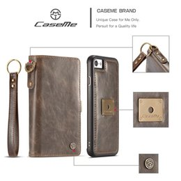 Wholesale Iphone Cover Id - Removable Wallet Leather For Iphone 7 Plus 6 6S Galaxy S8 Plus 2 in 1 Detachable Case Flip Cover Magnetic Frame ID Card Slot Pouch Strap