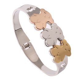 Wholesale Animal Bracelet Bangle - TL Gold Plated Stainless Steel Bangle Bracelet Bear Jewelry For Women High Quality Hot Selling Fashion