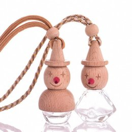 Wholesale Car Hanging Ornaments - 5ml Cartoon Transparent Glass Bottles Steam Car Ornaments Hanging Car Perfume Car Jewelry Pendant free shipping F2017168