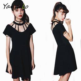 Wholesale Wholesale Sexy Hip Hop Dresses - Wholesale- 2016 Women Black Casual Punk Rock Hip Hop Dress Women Short Sleeve Gothic Clubwear Dresses Vestidos Femininos