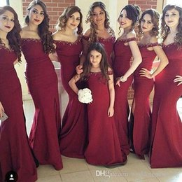 Wholesale Elegant Beaded Satin Wedding Dress - 2017 Elegant Burgundy Off The Shoulder Bridesmaid Dresses Side Split Evening Dresses For Wedding Crystal Beaded Vestidos De Fiesta Cortos