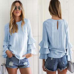 Blusas finas de moda online-Las mujeres de la manga larga del doblez abotonan el botón de la blusa ahuecan hacia fuera las mujeres atractivas de la manera Blasas adelgazan más el tamaño remata las camisas B2155