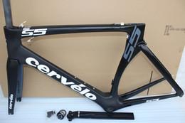 Wholesale Carbon Frameset 58cm - black Cervelo S5 frame with bbright adapter road bike carbon frame carbon fiber road frame 48 51 54 56 58cm T1000 carbon bicycle frameset