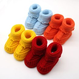 Wholesale Knitted Baby Booties Wholesale - Handmade Newborn Baby Infant Boys Girls Crochet Knit Booties Casual Crib Shoes Y56 knit booties