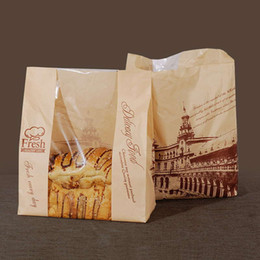Wholesale Paper London - 31x21x9cm Kraft paper bread bags with window DIY baking paper bags Cookie cake Toast Bag Bread Packing for Bakery Tower of London 50pcs