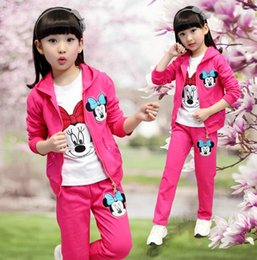 Wholesale Minnie Tracksuit - Baby girls clothing sets cartoon minnie Mickey spring autumn children's wear cotton casual tracksuits kids clothes sports suit