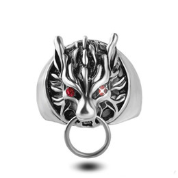 Wholesale Wolf Fingers - Silver Plated Final Fantasy Red Eye Cloudy Wolf Finger Rings Statement Ring Band Ring for Men Women Statement Jewelry Christmas gift