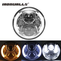 """Wholesale Halo Headlamps - Ironwalls 7"""" Motorcycle LED Headlight 60W Halo Headlamp Projector Daymaker H4 For Harley Davidson Touring Softail Electra Glide"""