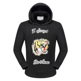 Wholesale Girls Pullover Fleece - NEW 2017 New Fashion tiger fleece Men WOMEN Cartoon Anime Long sleeve hat Neck Tops Cotton fleeceBoy Girl Funny
