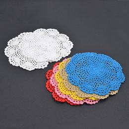 Wholesale Crochet Cup Placemat - Wholesale- 2pcs Handmade Cotton Floral Crochet Doilies Cup Mat Pad Coaster Vintage Placemat Coasters