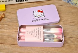 Wholesale Wholesale Professional Beauty Cases - 2017 New Professionals 7Pcs Set Hello kitty Cosmetic Brush Kit Makeup Brushes Pink iron Case Toiletry beauty appliances makeup brush