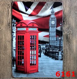 Wholesale Vintage Eiffel Tower Metal - Sign Painting Statue of Liberty Eiffel Tower Telephone Booth Vintage Craft Tin Wall Retro Metal Poster Bar Pub Signs Room Wall Art Sticker