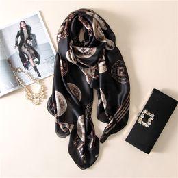 Wholesale Printing Large - Wholesale- Spring luxurious fashion high-grade elegant temperament printing silk womens scarf large Pentium letter autumn warm female sha