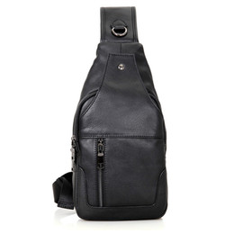 Wholesale Hobo Leather Backpack - Fashion Genuine Leather Chest Bags for Men Casual Messenger Bags Chest Pack Bag Cross Body Black Single Shoulder Chest Bags Packs Backpack
