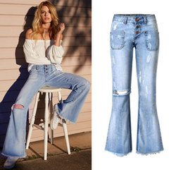 Wholesale Woman Blue Jeans Wide Legs - 2017 Hot Selling Womens Blue Ripped Skinny Boyfriend Jeans Distressed Hole Skinny Low Rise Bootcut jeans For Women Desiger Flare jeans Sale