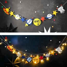 Wholesale Banners Lighted - Led Robot Party Personalized Banner Space Birthday Rocket Ship Flag Garland Bunting with lights kids park club tent decor gift