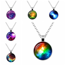 Wholesale Cabochon Retro - Planet galaxy Retro sweater necklace glass cabochon space universe Gun black pendant women Starry sky jewellery gifts for astronomy lover 13