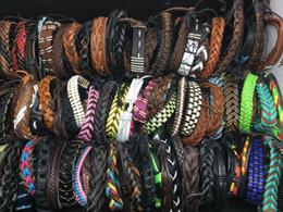 Wholesale Tribal Surfer - Wholesale 50pcs   lot mixed styles surfer cuff ethnic tribal retro leather bracelets fashion jewelry