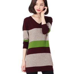 Wholesale Cashmere Sweater Dress Sale - Wholesale-Soft ComfortableHot Sale 2016 New Fashion Winter Wool Cashmere Long Women Dress Knitted Pullovers Tops V-neck Slim Warm Sweaters