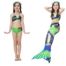Wholesale Skirt Swim Suits - Girls Mermaid Swimsuits Three pieces Sets Swim Trunks Beach Suits Cute Beautiful Swimwears Bikini Tail Skirts