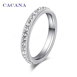Canada CACANA Anneaux En Acier Inoxydable Pour Les Femmes Petit CZ Diamant Surround Bijoux De Mode En Gros NO.R19 Offre