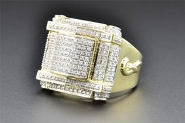 Carré jaune à vendre-Diamond Pinky Ring 10K Or jaune Pave Round Cut 0.66 CT Mens Square Design