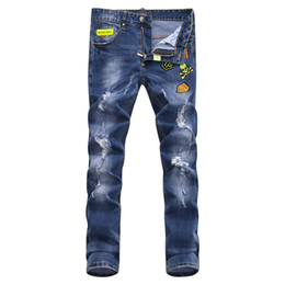 Wholesale New Fashion Embroidery - Wholesale-New Arrival Fashion Brand Jeans Men Skull embroidery Straight Ripped Denim Trousers Mens Business Pants Blue Jean Men 1500