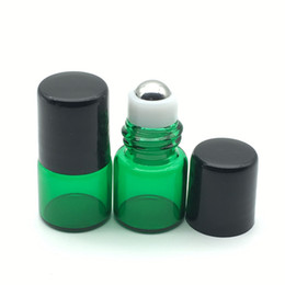 Wholesale Green Glass Roll Bottles - Hot 1ml Glass Roller Bottle Green For Essential Oil Roll-on Refillable Perfume Sample Roller Glass Container with Black Lids DHL FREE