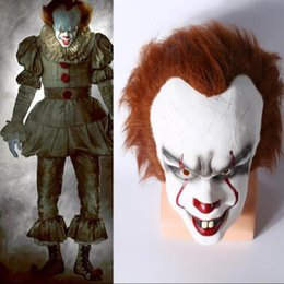 Wholesale Clown Cosplay - Halloween Christmas Mask TOY Pennywise Costume It The Movie By Stephen King it Scary Clown Mask Men's Cosplay Prop Party Mask CCA7528 50pcs